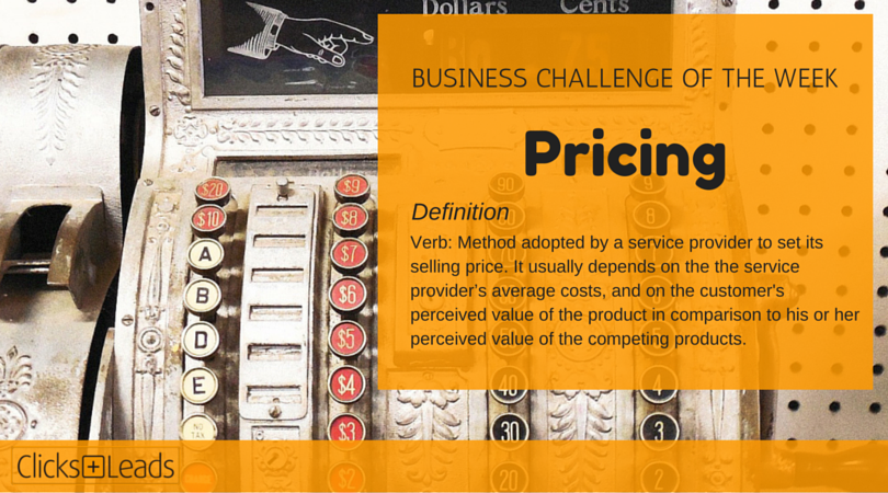 BUSINESS CHALLENGE OF THE WEEK - pricing