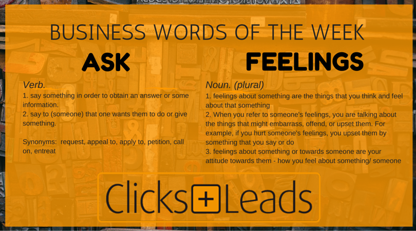 Business Words Of The Week - Ask & Feeling